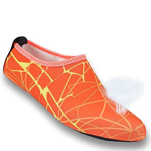 Barefoot Aqua Beach Shoe Socks Water 1 Pair Swim Flexible Water Skin Socks Sand Men's Orange Printed Shoes Gohom Women's xOABRqIw
