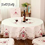 FADFAY Europen Rustic Floral Embroidered Tablecloth Round Table Cloth Chair Cover