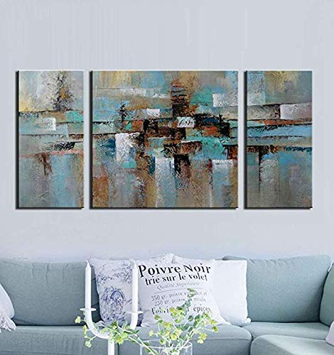 - Teal Blue Abstract Oil Painting on Canvas Gallery-Wrapped Lost in The Rain 100% Hand-Painted Wall Art Decor Home Decoration 3-Piece for Living Room Bedroom and Office 30x60inch