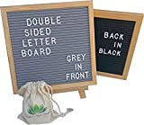 Double Sided Letter Board - Black Felt on Front & Grey Felt on Back - Two Felt Letter Boards for the Price of One - Oak Wooden Letter Board Frame - 340 Board Letters