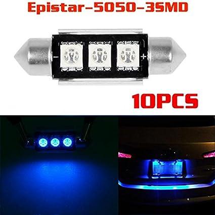 ae70ca9bb859 Amazon.com  Partsam 10x Blue C5W 6411 6418 6486X Epistar 5050 SMD 36mm  Festoon Error Free Canbus LED Bulbs for Rear License Plate Lights   Automotive