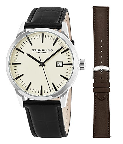 Set Stainless Steel Wrist Watch - Stuhrling Original Mens Minimalist Swiss Quartz Stainless Steel Dress Wrist-Watch, Quick-Set Date, 2 Easy-Interchangeable Leather Straps – 555AZ Series