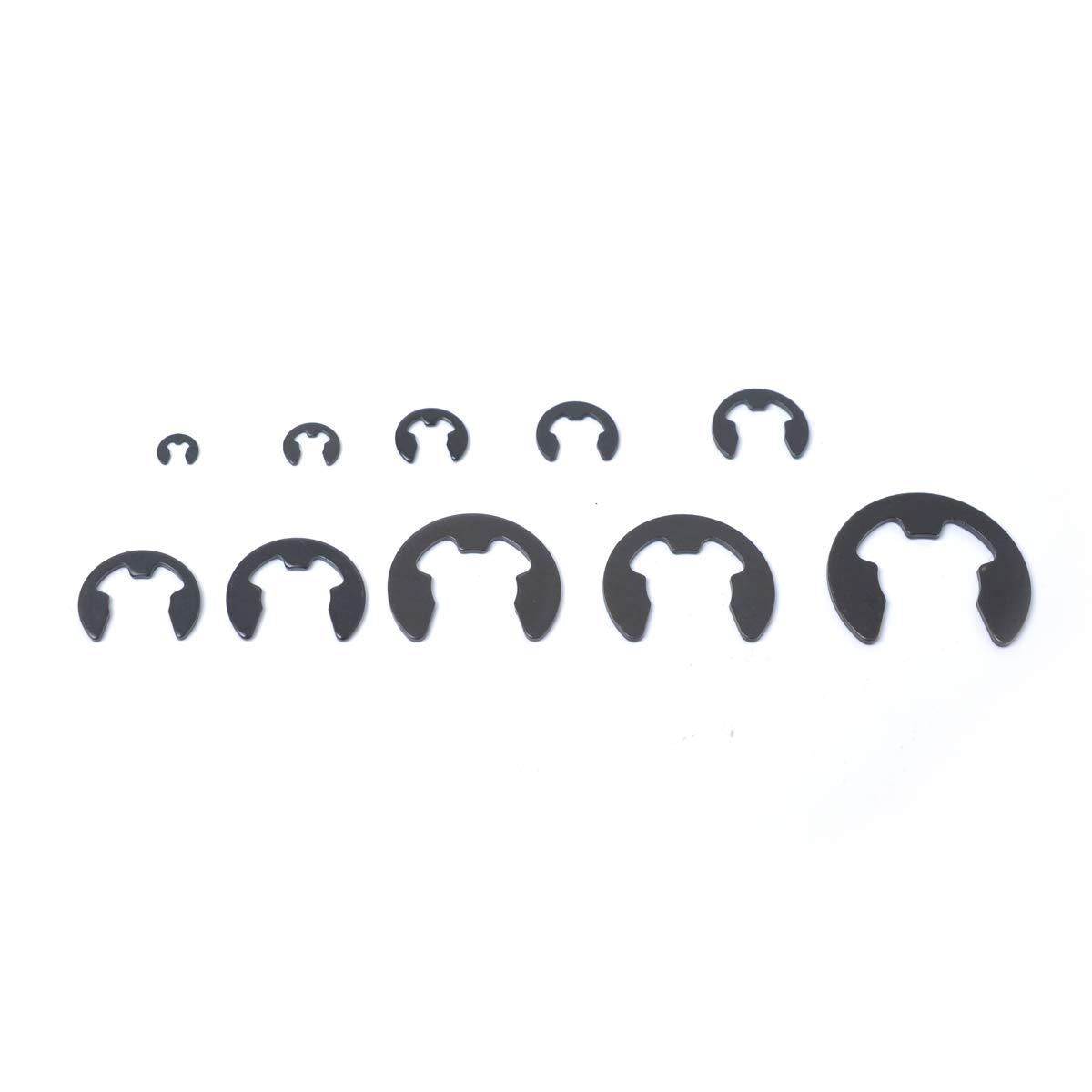 160Pcs E-Clip Retaining Ring Snap Ring Assortment Kit 2 3 4 5 6 7 8 9 10 12 mm Auto Accessories