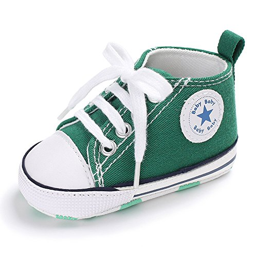 (Baby Girls Boys Canvas Shoes Soft Sole Toddler First Walker Infant High-Top Ankle Sneakers Newborn Crib Shoes (S: 4.25 inch(0-6 Months), A-Green))