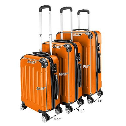 Four 24 Inch Trolley - Pull Rod Case, Orange ABS Portable 3-in-1 Trolley Case 20