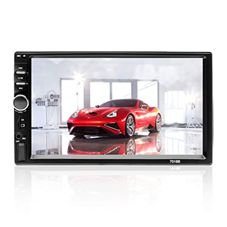 Aigoss Car Stereo Bluetooth MP5 Video Digital Player 7 Touch Screen 2 Din Car Radio Wireless Remote Control Hands Free Multimedia with Rear-View Camera, Support Backup TF FM AUX USB