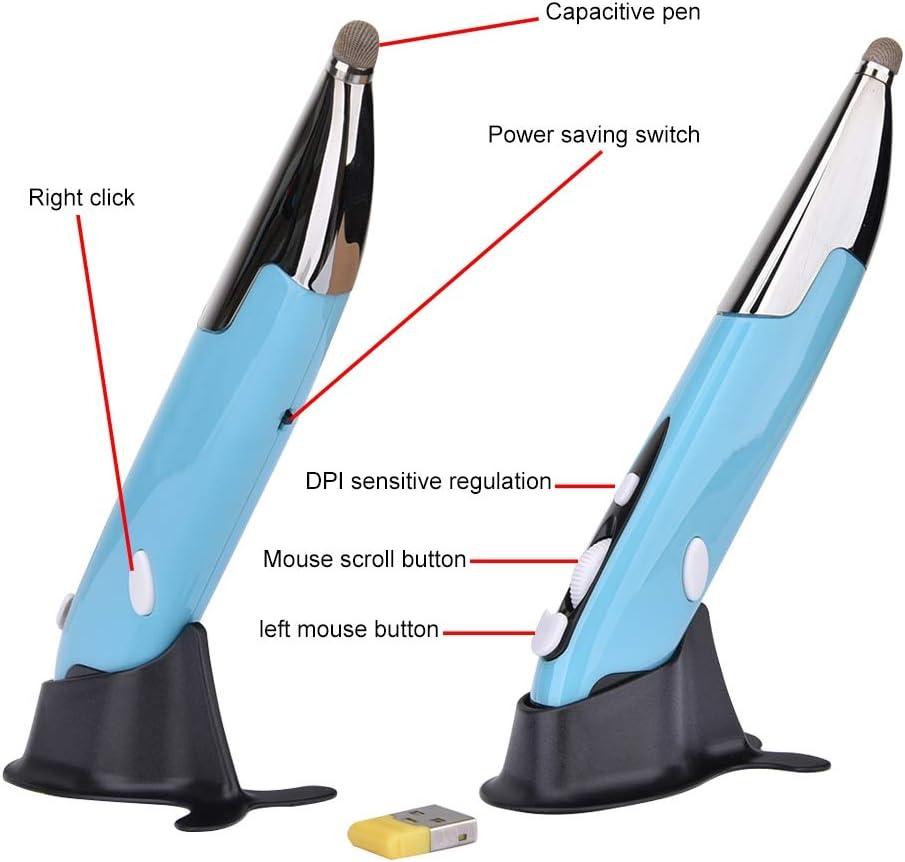 LIYUNSHU PR-06 4-Keys Smart Wireless Optical Mouse with Stylus Pen Function Grey Color : Blue