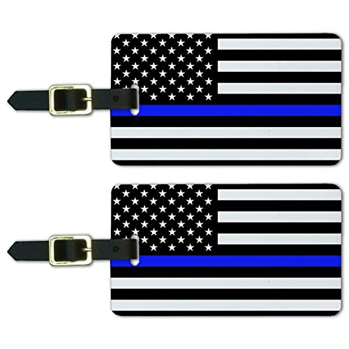 Thin Blue Line American Flag Luggage ID Tags Suitcase Carry-On Cards - Set of 2