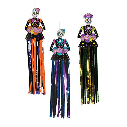 Fun Express - Day Of The Dead Hanging Decor (3pc) for Halloween - Party Decor - Hanging Decor - Misc Hanging Decor - Halloween - 3 Pieces -