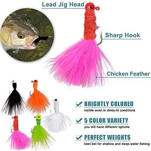 Marabou Jigs Fishing Lure Kit 20pcs Fishing Jigs Heads Feather Hair Jig for Perch Panfish Bass Pike Walleye Trout