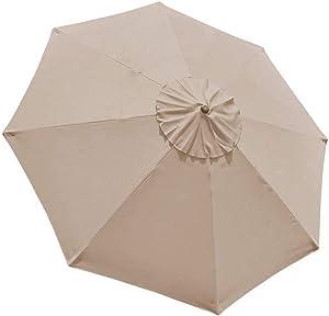 EliteShade 9ft Patio Umbrella Market Table Outdoor Deck Umbrella Replacement Canopy (Beige)