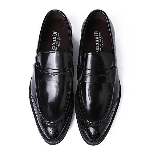 Hombres Toro castrado Cuero Zapatos Puntiagudo Dedo del pie Oxford Grueso Fondo Ponerse Formal Boda Negocio Negro Oficina Trabajo Fiesta Negro