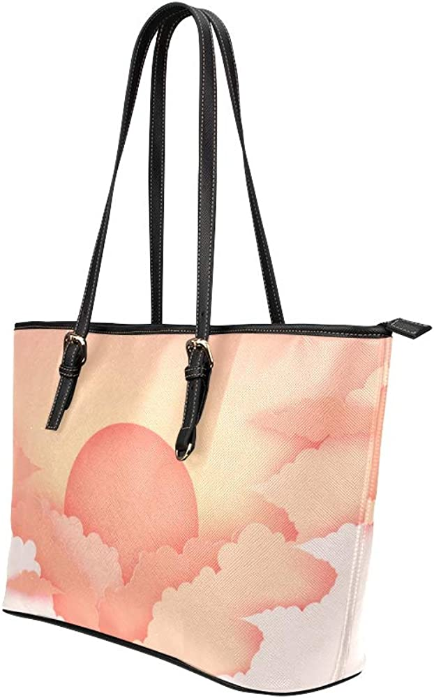 Shopping Tote Bag For Women Beautiful Lanscape Sunrise Sunset Leather Hand Totes Bag Causal Handbags Zipped Shoulder Organizer For Lady Girls Womens Women Work Bag