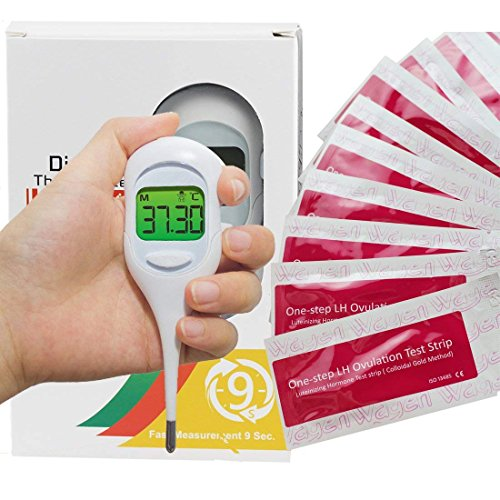 Basal Thermometer and 50 Ovulation (LH) Test Strips for TTC Women to Catch Perfect Ovulation and Get Pregnant Naturally