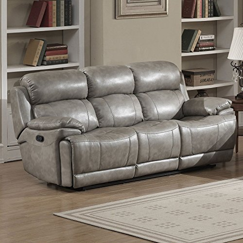 AC Pacific Estella Collection Contemporary Upholstered Leather Recliner Sofa with Dual Recliners, Gray