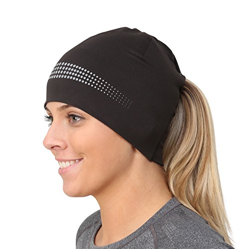TrailHeads Ponytail Hat/Women's Performance Running Beanie with Reflective Accents - Adrenaline Series - Black/Reflective
