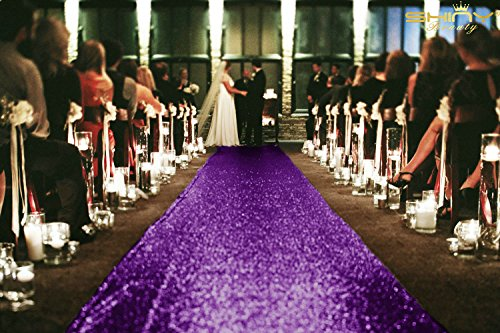 ShinyBeauty 3FTx15FT-Wedding Aisle Runner-Purple,Glitter Sequin Aisle Runner for Wedding Ceremony Party/Children Party Decoration by ShinyBeauty