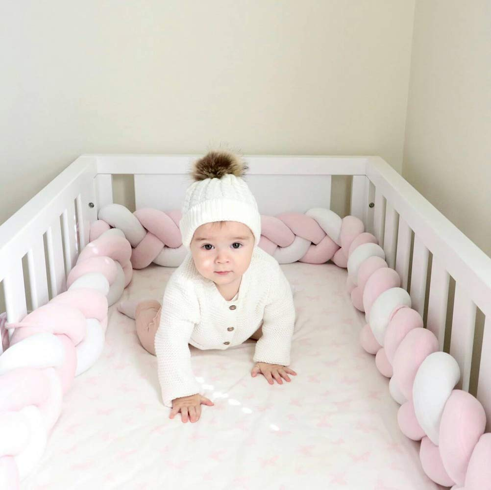 Soft Knot Pillow Decorative Baby Bedding Sheets Braided Crib Bumper Knot Pillow Cushion White+Pink+Green, 118.11 inch