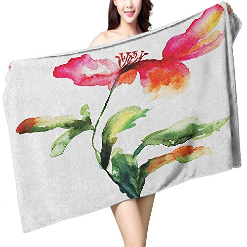 Perfectble Sauna Towel Watercolor Flower Shaded Single Poppy Flowering Plant Muse Nature Earth Divine Grace W12 xL35 Suitable for bathrooms, Beaches, ()