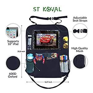 Car Backseat Organizer - Kick Mat Car Seat Storage for Kids - Car Organizer with Tablet Holder - Best Baby Back Seat Protector
