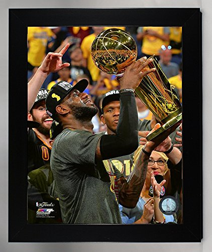 Wall Cavaliers Framed (Framed Cleveland Cavaliers LeBron James With The Championship Trohpy. 8x10 Photo Picture From the 2016 NBA Finals)