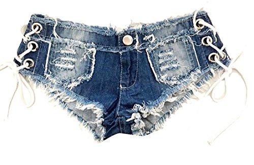 Nice OULIU Women's Mid Rise Side Lace Up Denim Shorts Jeans Clubwear hot sale