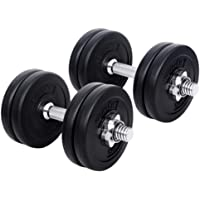 20-35KG Dumbbell Set Bumbbells Weights Plates Adjustable Home Gym Fitness Exercise Workout Training Bar Hand Rack Bench Press Squat Standard Everfit