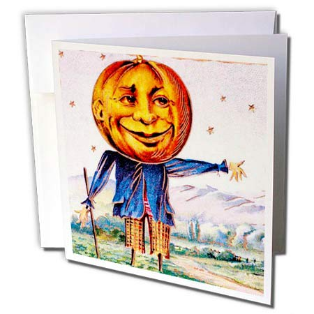 3dRose Scenes from The Past Ephemera - Vintage Halloween Scarecrow Early 1900s Postcard - 1 Greeting Card with Envelope -