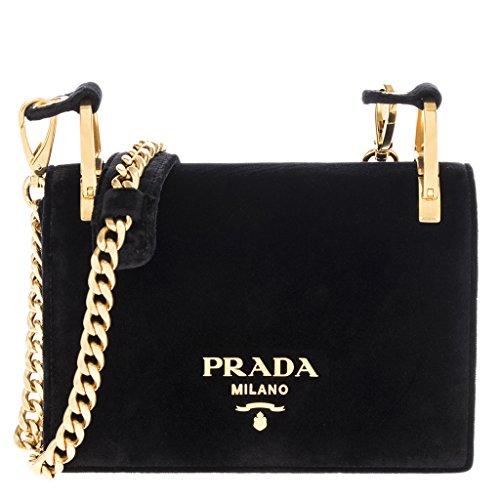 Prada Women's Pattina Velvet Chain Shoulder Bag Black