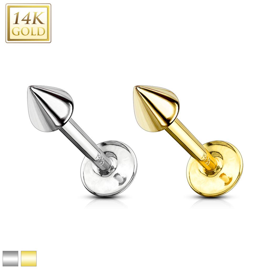 Covet Jewelry Spike Top Solid Gold Labret Monroe (16GA, Length: 6mm, Ball: 3mm, White Gold)