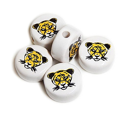 ANIMALS CERAMIC BEADS TIGER FACE 21mm DISC WHITE BASE GOLD/BLACK DETAILS 20pc