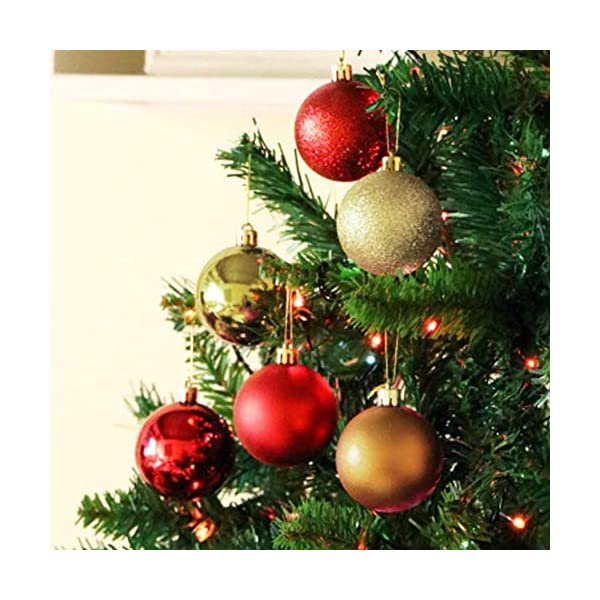 Lhbfcy Sfere per Albero Natale Set Plastica Palle Palline Nozze Dell'albero Pallina Verniciata Bagattelle Artigianali Palla per Brillanti Pendenti Natale Scintillanti Deco 4 cm/1.57 Pollici(48 PZ) 5 spesavip