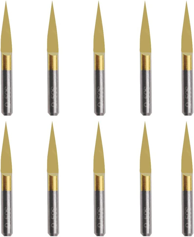yuanhaourty 10Pcs 15/° 0.1mm CNC Bit Router Tools Titanium Coated Carbide PCB Engraving