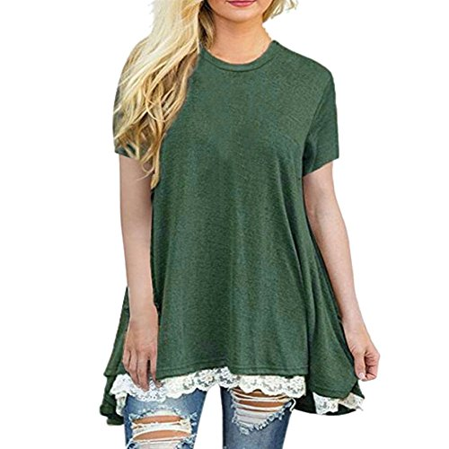 Tantisy ♣↭♣ Short Sleeve T-Shirt,Women's Fashion Casual O-Neck Tops  Lace Hem Splicing Fluffy A-Line Tunic Blouse Army Green