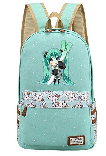 Siawasey Anime Hatsune Miku VOCALOID Cosplay Bookbag Backpack School Bag (Miku-Green2)
