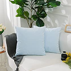 HOME BRILLIANT 2 Pack Short Plush Velvet Solid Cushion Covers Throw Pillow Cases for Bench/Chair-Ultra Soft-18 inch by 18 inch(45x45cm), Light Blue