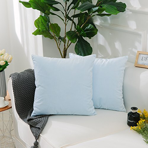 Light Blue Accent (Home Brilliant 2 Pack Short Plush Velvet Solid Cushion Covers Throw Pillow Cases for Bench/ Chair-Ultra Soft-18 inch by 18 inch(45x45cm), Light Blue)