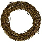 queenland Natural Grapevine Wreath Rustic Ring Wreath DIY Crafts Base for Christmas Wreath Door Garland Home Decoration Gift Hanging Decor 16 inches,Pack of 1