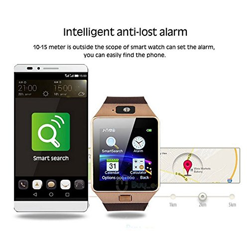 Bluetooth Smart Watch with Camera, Aosmart DZ09 Smartwatch for Android Smartphones - Gold by Aosmart (Image #5)