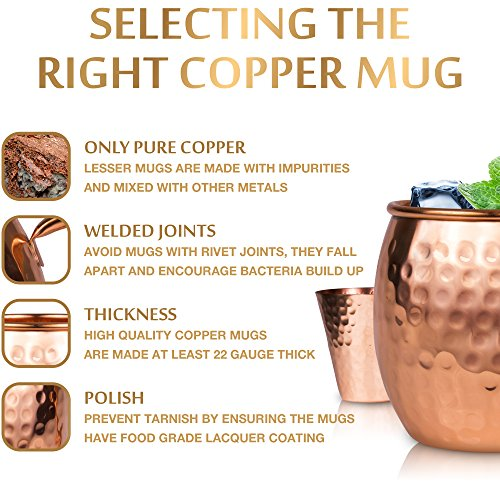 Moscow Mule Copper Mugs Set : 4 16 oz. Solid Genuine Copper Mugs Handmade in India, 4 Straws, 4 Wood Coasters, & Shot Glass : Comes in Elegant Gift Box, by Yooreka by Yooreka (Image #5)