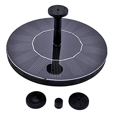 MAX HERO Solar Powered Bird Bath Fountain Pump1.4W Solar Panel Water Floating Pump Kit, 4 Kinds Spay Heads for Pond, Pool and Garden Decoration