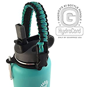America's #1 Hydro Flask Water Bottle Carrier - Worry-free HydroCord Handle, Paracord Strap and Safety Ring Free You Up When You're On-the-Go, Never Again Drop or Lose Your Bottles (Mint)