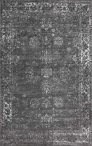 Unique Loom 3134056 Sofia Collection Traditional Vintage Beige Area Rug, 5' x 8' Rectangle, Dark Gray