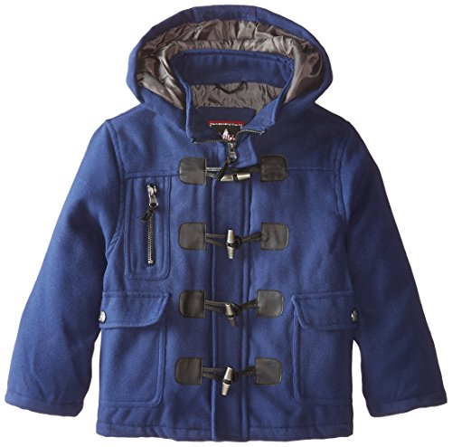 YMI Little Boys' Hooded Toggle Button Wool Coat, Navy, 7