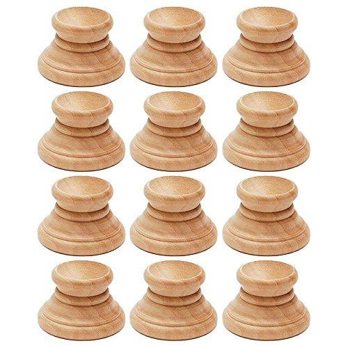 Wood Egg Stand - BestPysanky Set of 12 Blank Unfinished Wooden Egg Stands Holders Displays