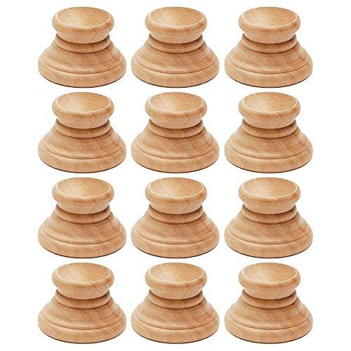 BestPysanky Set of 12 Blank Unfinished Wooden Egg Stands Holders -