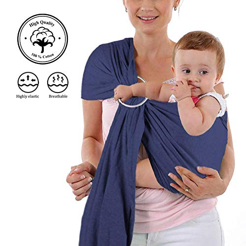 Baby Wrap Carrier and Ring Sling - Charcoal Cotton - Use as a Postpartum Belt and Nursing Cover with Free Carrying Pouch - Baby Shower Gift for Boys or Girls ()