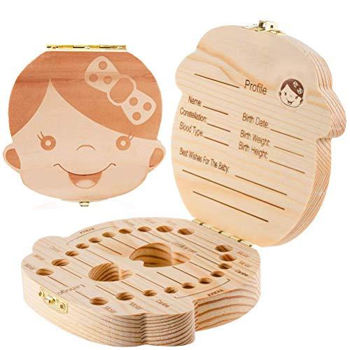 (Tooth Fairy Box, Baby Tooth Box Kids Teeth Storage Wooden Box Baby Teeth Holder Box Keepsake Gift for Kids Boy and Girl)