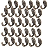 uxcell Single Hook 3 Mount Holes Coat Scarf Hangers Keychain Holders Bronze Tone 30pcs