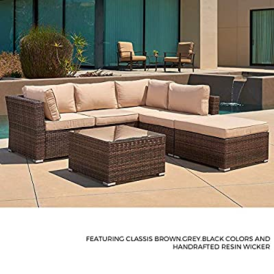 SUNCROWN Outdoor Furniture Sectional Sofa 4-Piece Set All-Weather Brown Wicker